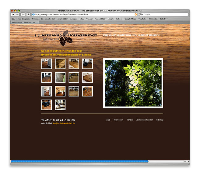 Webseite der  J. J. A. Holzwerkstatt GmbH